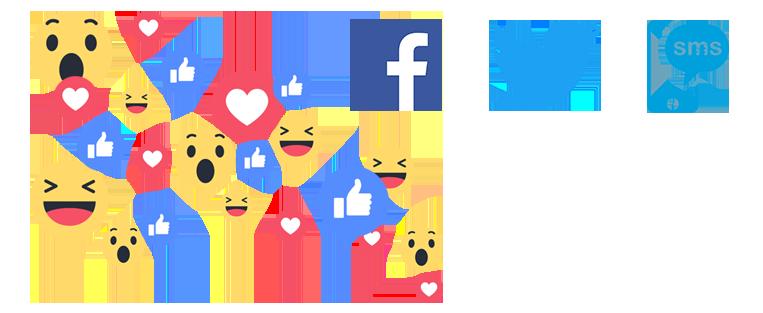 Réactions live réseaux sociaux - Facebook - Twitter - SMS