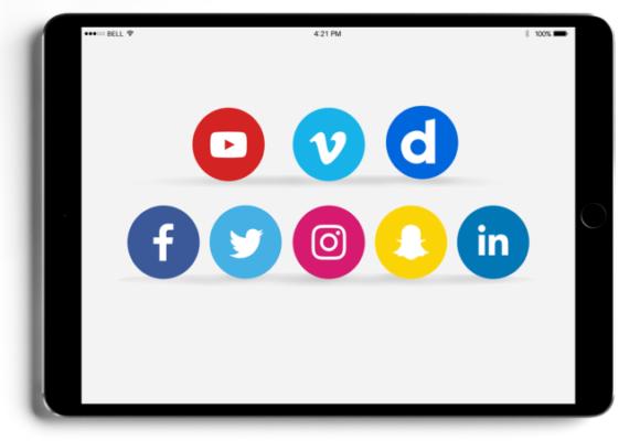 Tablette - Réseaux sociaux - Youtube - Vimeo - Dailymotion - Facebook - Twitter - Instagram - Snapchat - Linkedein